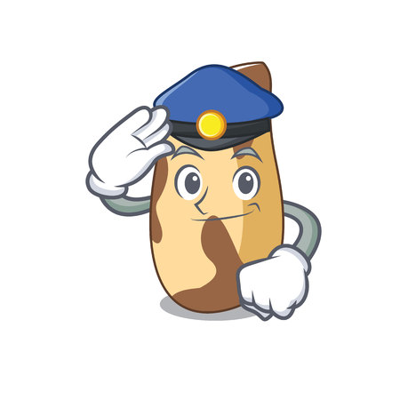 Police brazil nut character cartoon Vector illustration.
