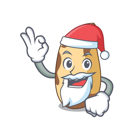 Santa brazil nut mascot cartoon vector illustration