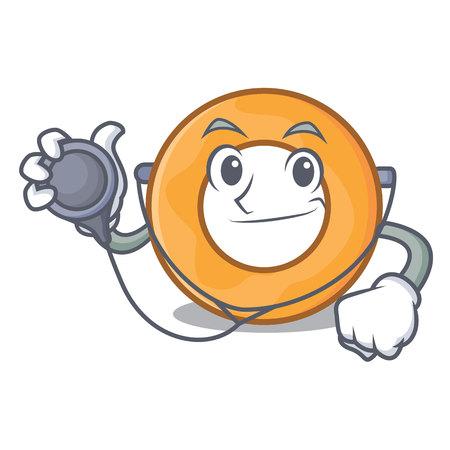 Doctor onion ring character cartoon vector illustration
