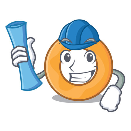 Architect onion ring character cartoon vector illustration