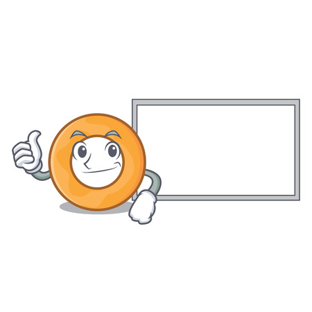 Thumbs up with board onion ring character cartoon vector illustration