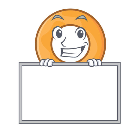 Grinning with board onion ring character cartoon vector illustration