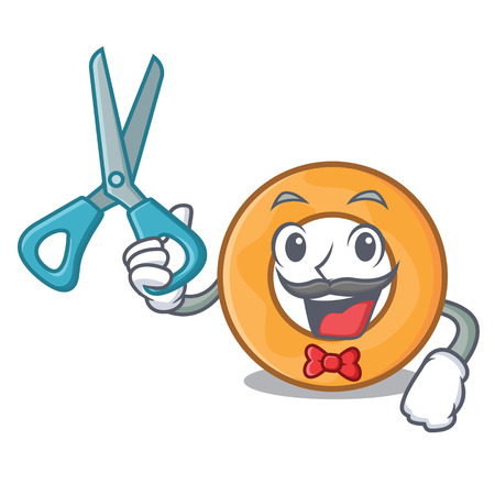 Barber onion ring character cartoon vector illustration