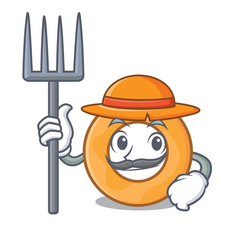 Farmer onion ring character cartoon vector illustration Ilustração