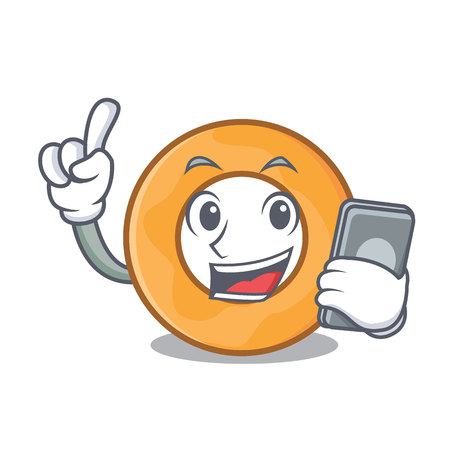 With phone onion ring character cartoon vector illustration