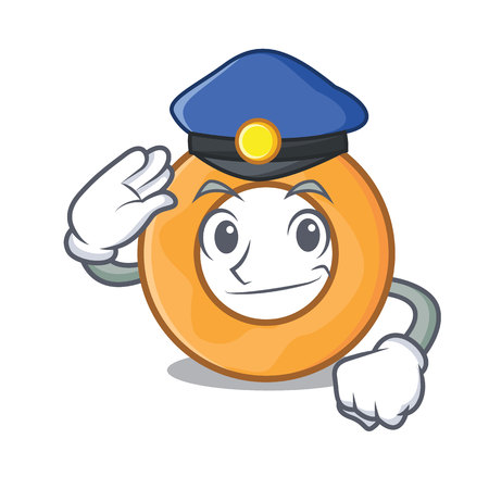 Police onion ring character cartoon vector illustration Ilustração