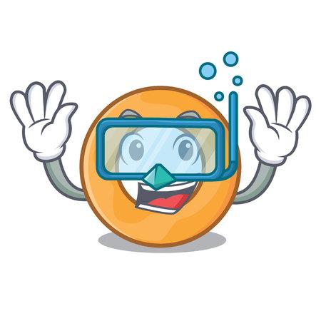 Diving onion ring character cartoon vector illustration
