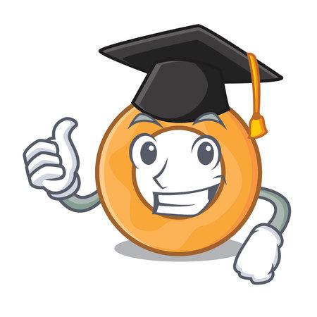 Graduation onion ring character cartoon vector illustration