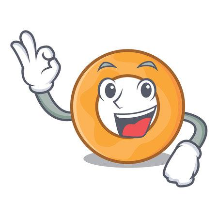 Okay onion ring character cartoon vector illustration