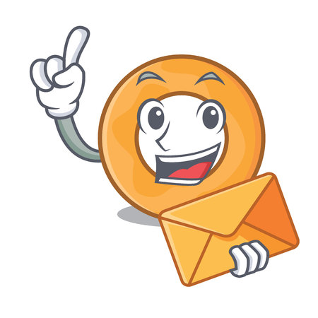 With envelope onion ring character cartoon vector illustration