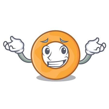 Grinning onion ring character cartoon vector illustration