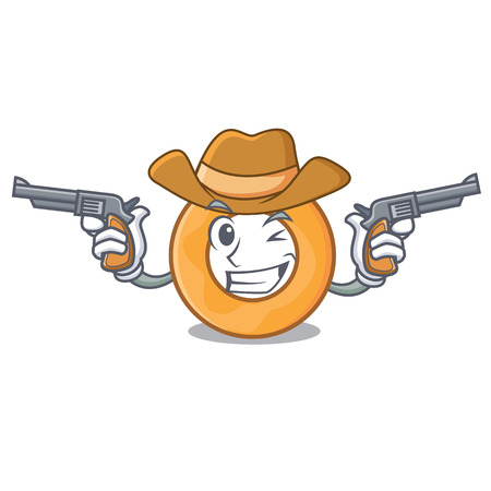 Cowboy onion ring character cartoon vector illustration