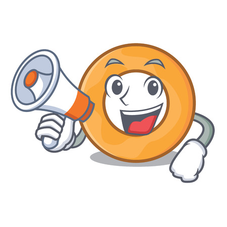 With megaphone onion ring character cartoon vector illustration