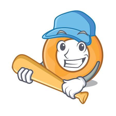 Playing baseball onion ring character cartoon vector illustration