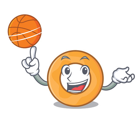 With basketball onion ring character cartoon vector illustration