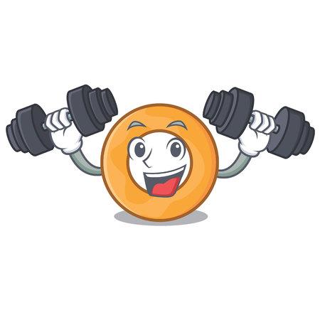 Fitness onion ring character cartoon vector illustration