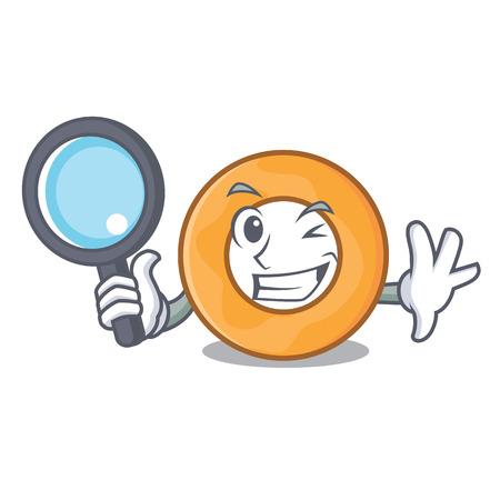 Detective onion ring character cartoon vector illustration 版權商用圖片