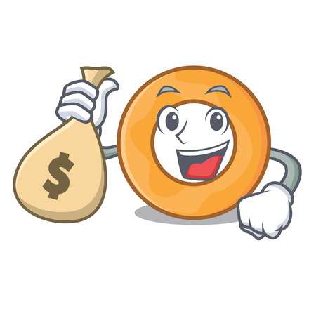 With money bag onion ring character cartoon vector illustration 版權商用圖片