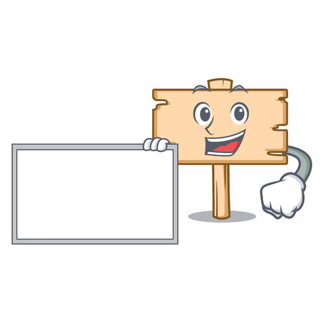 With board wooden board character cartoon vector illustration