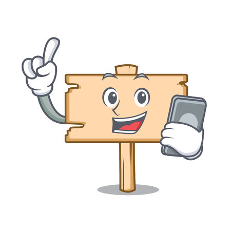 With phone wooden board character cartoon vector illustration