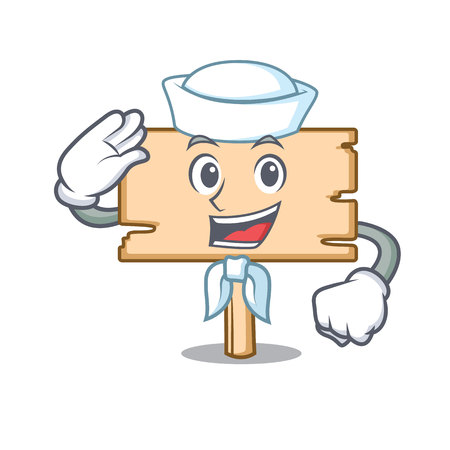 Sailor wooden board character cartoon vector illustration Illustration