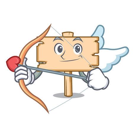 Cupid wooden board character cartoon vector illustration
