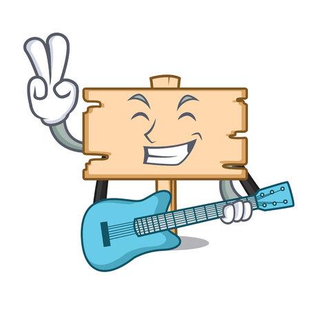 With guitar wooden board mascot cartoon vector illustration Illustration