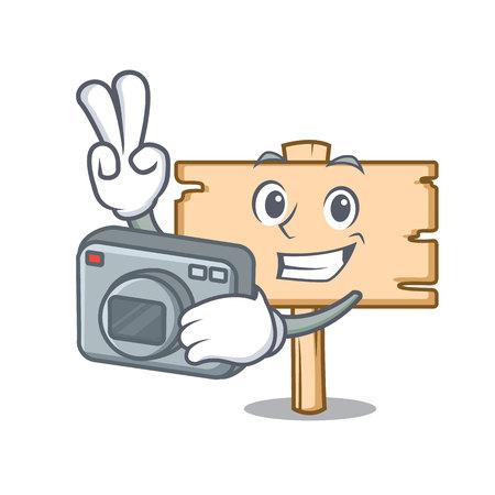 Photographer wooden board mascot cartoon vector illustration