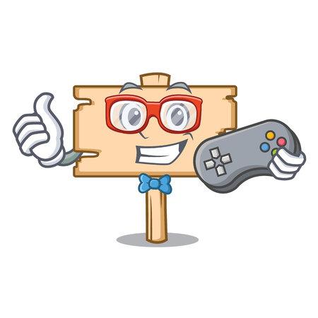 Gamer wooden board mascot cartoon