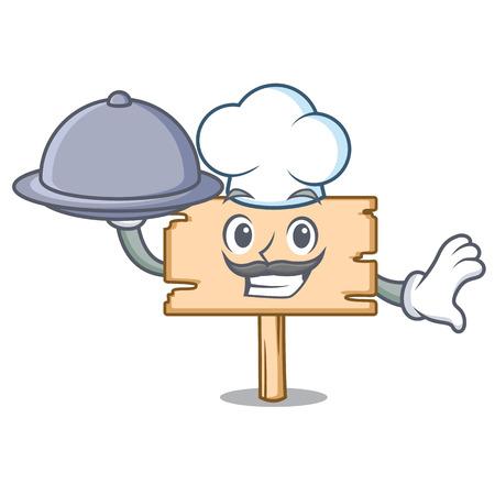 Chef with food wooden board mascot cartoon