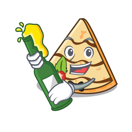 With beer crepe mascot cartoon style