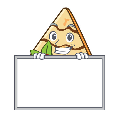 Grinning with board crepe character cartoon style