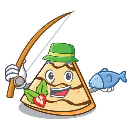 Fishing crepe mascot cartoon style Иллюстрация