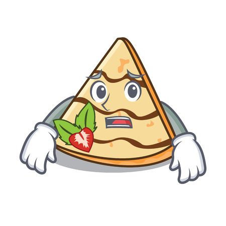 Afraid crepe mascot cartoon style