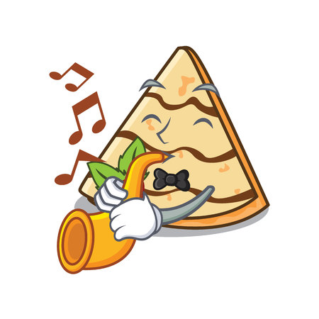 With trumpet crepe mascot cartoon style