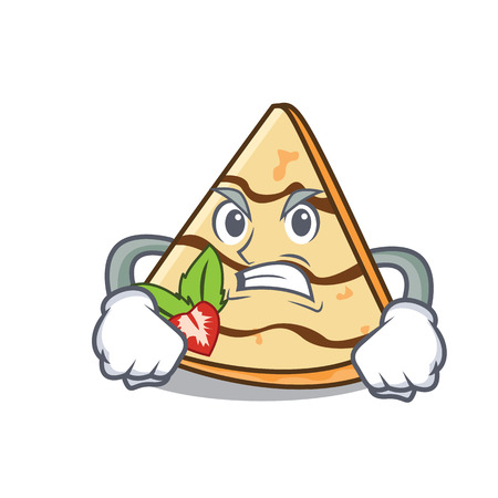 Angry crepe mascot cartoon style Vectores