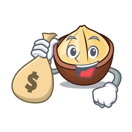 With money bag macadamia character cartoon style in emoticon design