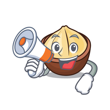 With megaphone macadamia character cartoon style in emoticon design