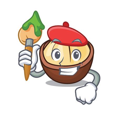 Artist macadamia character cartoon style Vector illustration. 일러스트