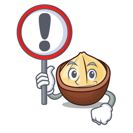 With sign macadamia character cartoon style Vector illustration.