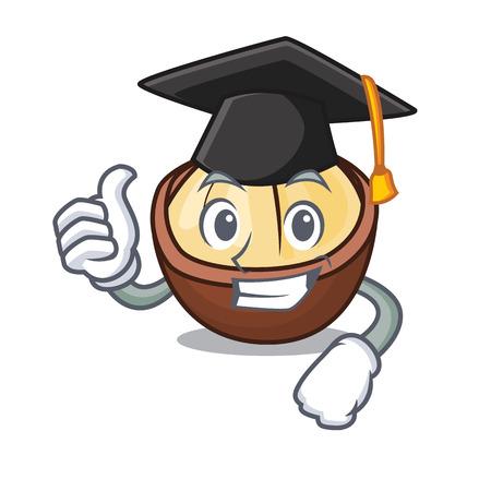 Graduation macadamia character cartoon style