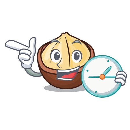 With clock macadamia character cartoon style Vector illustration.