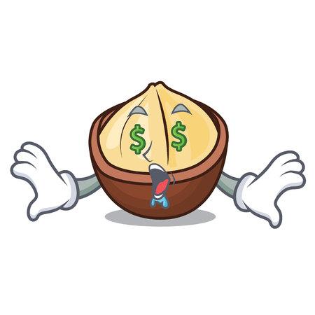 Money eye macadamia mascot cartoon style