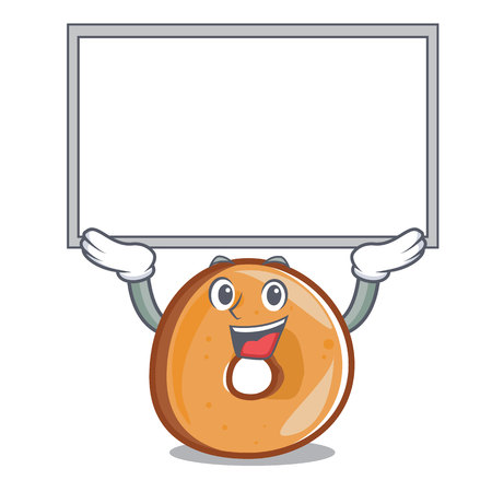 Up board bagels character cartoon style vector illustration