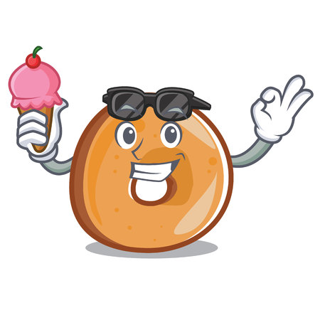 With ice cream bagels character cartoon style vector illustration