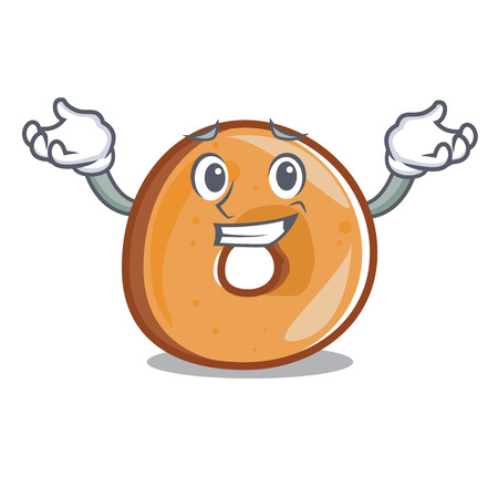 Grinning bagels character cartoon style vector illustration  イラスト・ベクター素材