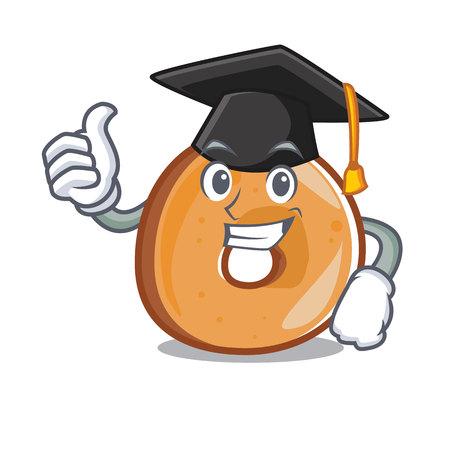 Graduation bagels character cartoon style vector illustration Illustration