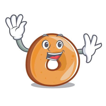 Waving bagels character cartoon style vector illustration