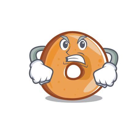 Angry bagels mascot cartoon style vector illustration. Illustration