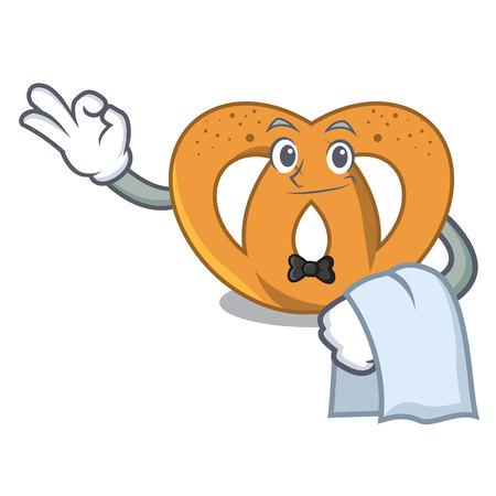 Waiter pretzel mascot cartoon style vector illustration